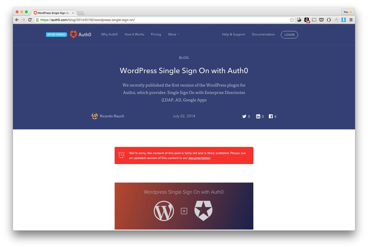 Página de características de auto0 wordpress