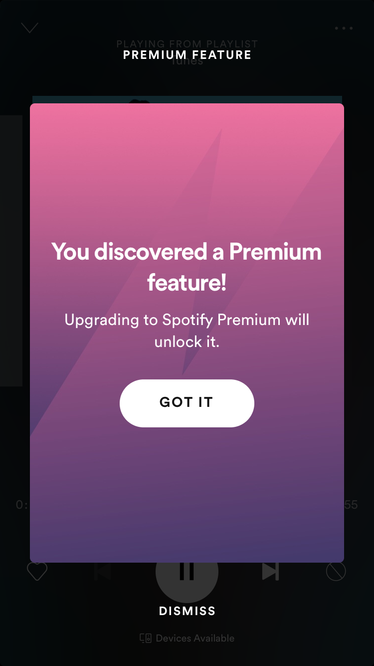 mensaje de actualización de la función premium modal móvil de Spotify